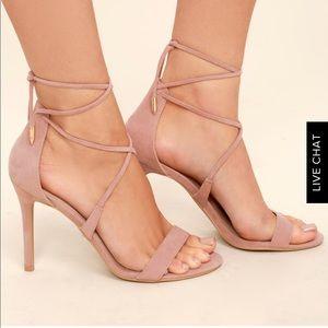 Lulus Aimee Dusty Rose Suede Lace Up Heels